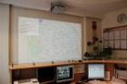 Вариант отображения карты на пункте связи части при помощи проектора. В перспективе возможно использование функции геослежения за пожарным автомобилем с архивацией истории перемещения.
